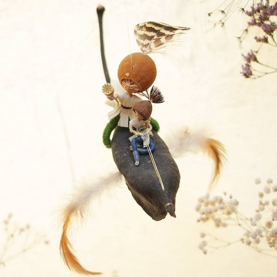 Eco Friendly Autumn colors, Waldorf Inspired Doll mobile - magic bird