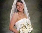 Light Ivory Waist Length Bridal Veil Ivory Tulle Single Layer Wedding Veil Plain Edge Off White Veils 30 Inch Diamond White