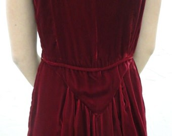 50s Dress // Vintage Late 1950s Red Velvet Gown with Fabulous Back Size S
