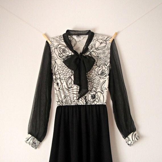 vintage black and white retro secretary dress day dress tie ascot