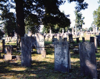 Halloween Full Color Cemetery Tombstones Photograph