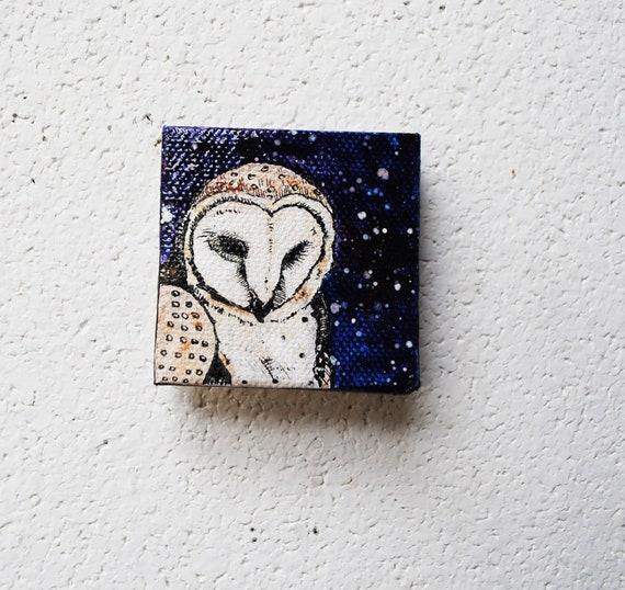 Barn Owl Galaxy - Original Painting - 2x2 Indigo Blue.  Space.  Illustration. Stars. Cosmos. Wall Art.  Home Decor. Tiny. Nature.
