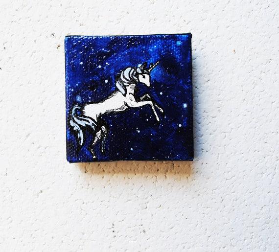 Unicorn Galaxy.  Tiny Art.  Original Oil Painting.  2x2.