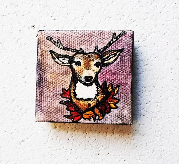 Rustic Fall Leaves Deer Painting.  Original Artwork.  2x2 Oil Painting.  Autumn.  Wreath.  Harvest.  Nature.