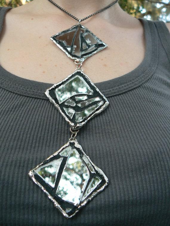 SALE mosaic mirror necklace diamond high fashion glam rocker gothic gypsy boho hippie style