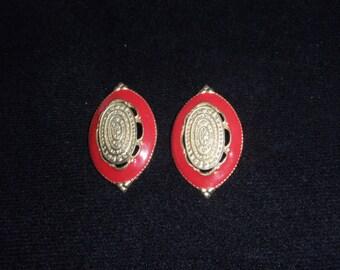 Clip Earrings Red and Gold  1970s Earrings  Retro Earrings
