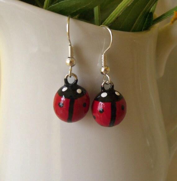 Little Lucky Ladybug Earrings - Polymer Clay Earring Charms - Nickel Free, Lead Free Dangle Earrings