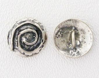 ONE Sterling Silver Artisan Button - SPIRAL