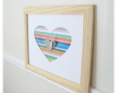 3D Heart Wall Art, Heart Art Print, Mixed Media Collage Artwork10 x 8 Horizontal Pattern