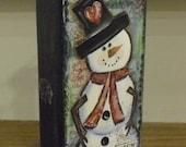 Mixed Media Snowman Wooden Block Art...Winter Decor...Christmas...Snowman Art...Mixed Media Art...Christmas Art...Original Mixed Media