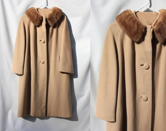 Vintage 'Couture Americana' Ladies Mohair Swing Coat With Mink Collar / Women's S to M