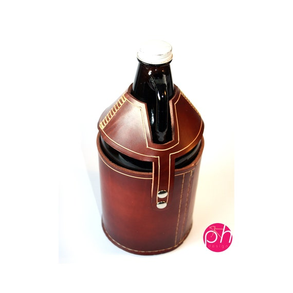 Beer Growler Leather Carrier - Mahogany
