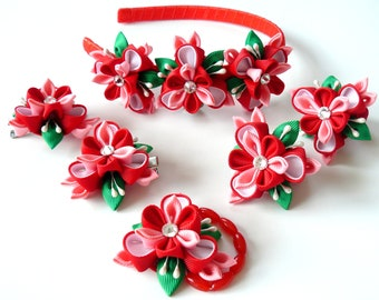 Kanzashi fabric flowers. Set of 6 pieces. Pink, red, white and green.