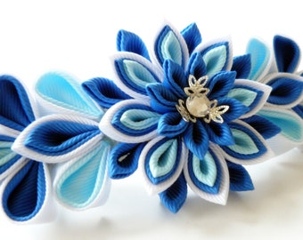 Kanzashi fabric flower french barrette.  Blue and white.