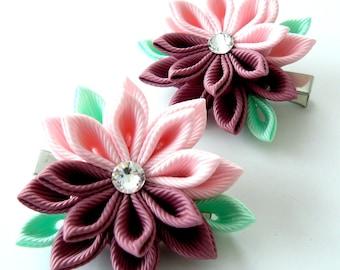 Kanzashi  Fabric Flowers. Set of 2 hair clips.