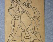 Antique Paper Stencil - Boxers / 2 Men in Boxing Match