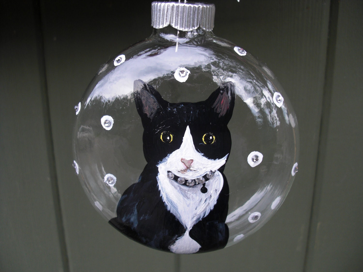 Glass cat ornaments - Hand Painted Glass Ornament With Tuxedo Cat Zoom