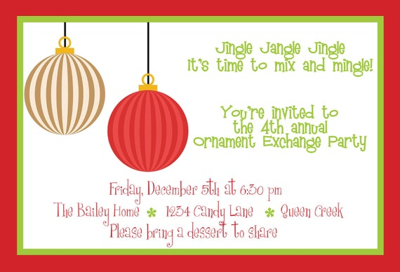 Items similar to Ornament Exchange Invitation, Holiday card, custom, 4x6 digi...