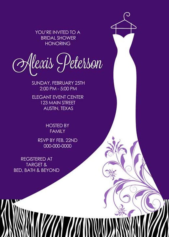 Items similar to bridal shower invitation wedding dress for Wedding dress bridal shower invitations
