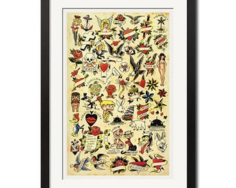 Sailor Jerry Vintage Tattoo Flash Poster Print