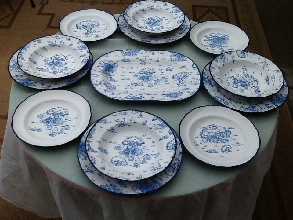 Winnie The Pooh 16 Piece Blue Toile Dinnerware Set : toile dinnerware - pezcame.com