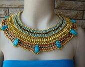 7 Scarab Marvelous Queen Cleopatra Halloween One Size fits ALL Collar Necklace