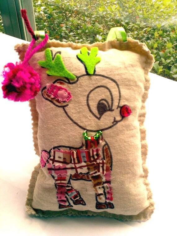 Reindeer Ornament Pillow,Stuffed Reindeer ,Rudolph, Christmas Door Hanger, Scrap Fabric Pillow, Reindeer Decor, Christmas Pillow
