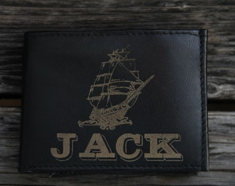 Personalized Leather Wallet - Ship