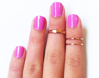 3 Above the Knuckle Rose Gold Rings - Z Rose Gold Combo - set of 3 rings stack midi rings