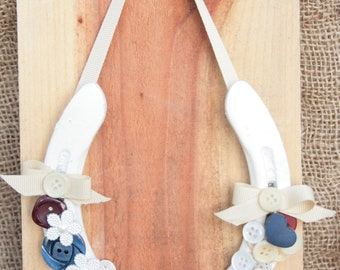 Red, White, and Buttons Horseshoe
