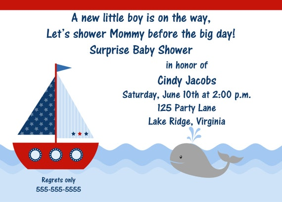printable sailboat baby shower invitation