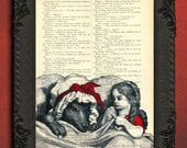 Red riding hood wolf on book page, fairy tale altered art, antique childrens book illustration, grimms fairy tales dictionary page
