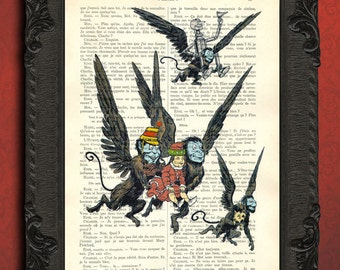 Wizard of oz art, flying monkey scene poster, vintage oz illustration on book page
