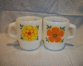Vintage Fire King Anchor Hocking Coffee Cup Milk Glass with Flowers