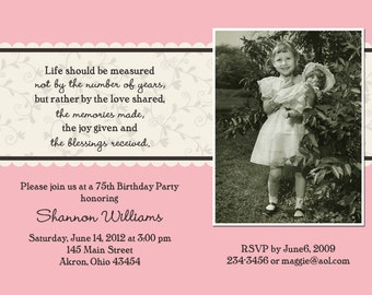 Adult Photo Birthday Invitations | Custom Design | Professionally Printed Card Stock | Man Woman Stationery Best Unique Modern Anniversary
