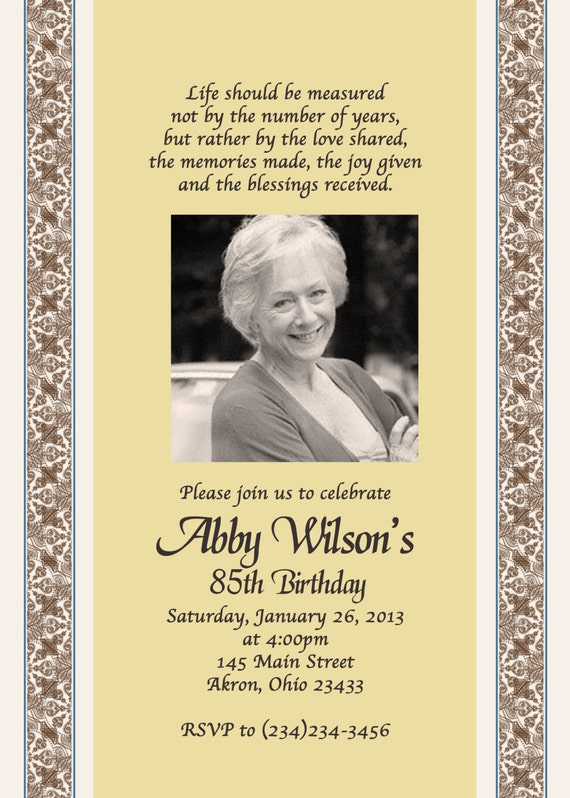 Adult photo birthday invitations custom design for What to buy grandmother for birthday