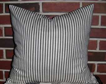 Ticking Stripe Pillow Covers, Blue OR Black TWO 18x18 Shabby Chic Pillow Covers, Ticking Pillow Covers, Cottage Chic, French, Beach Decor