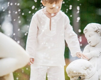 Boys white shirt linen eco soft summer beach wedding special occasion baptism baby boy infant