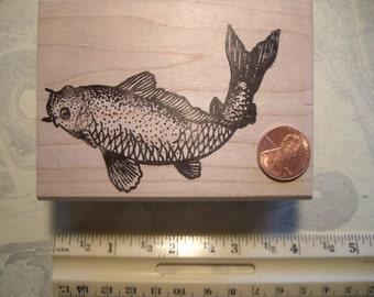KOI fish, gold fish rubber stamp  WOOD mounted scrapbooking rubber stamping