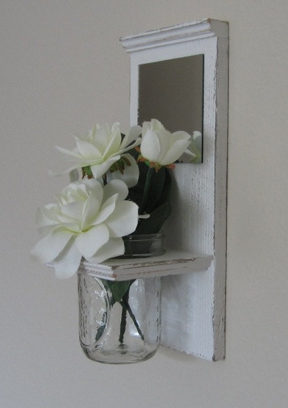 Shabby Chic Nautical Beach Cottage Reclaimed Cedar Flower Vase Mirror Sconce Entryway Hallway Living room Decor in Distressed Whisper White
