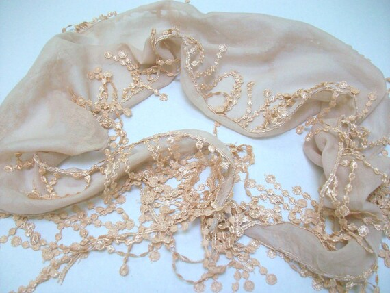 Cotton Scarf - Cowl Scarf -Shawl with Lace Edge -
