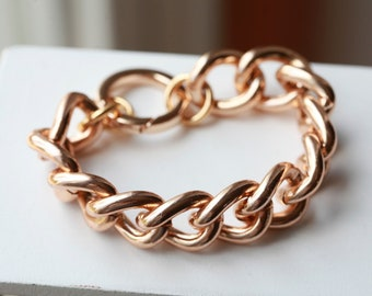 ROSE GOLD Chain Bracelet -Chunky Large Chain Link Bracelet - Chain bracelet