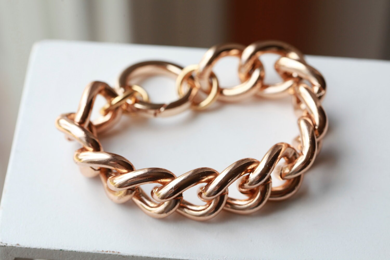 rose gold chain bracelet chunky large chain link bracelet