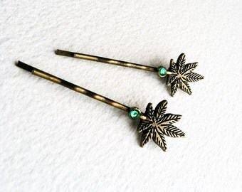 Marijuana Hair pins with Rhinestone - Brass Bronze antique crystal green cannabis ganja hemp vintage bobby accessories Smokies
