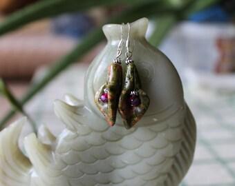 Nice Unakite Flower Earrings, sterling silver hook