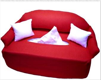 Handkerchief sofa - red - sofa tissue box cover - cosmetics box cover