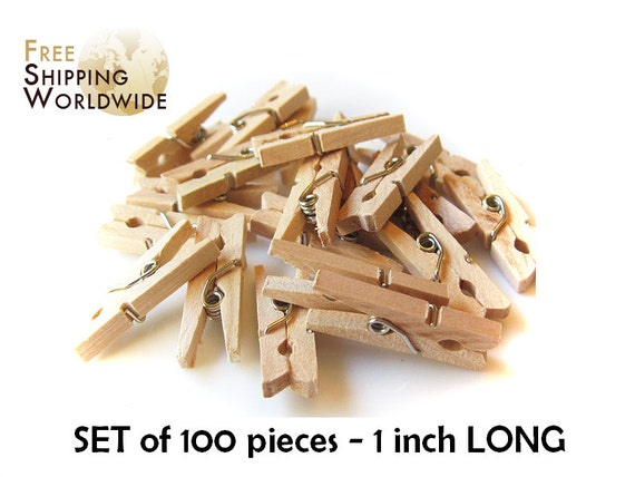 100 Mini Clothes Pins 1 inch - 25mm in lenght - Natural Wood Wooden Clothespins - Pegs - Clothespins Natural color from Beech wood