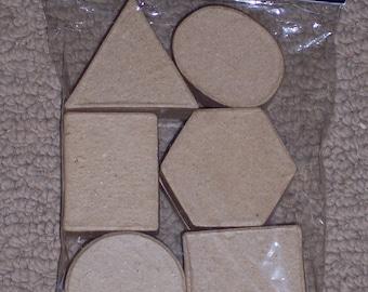 Unfinished paper mache  boxes to paint,decorate embellish,6/pkg,ass't geometric shapes