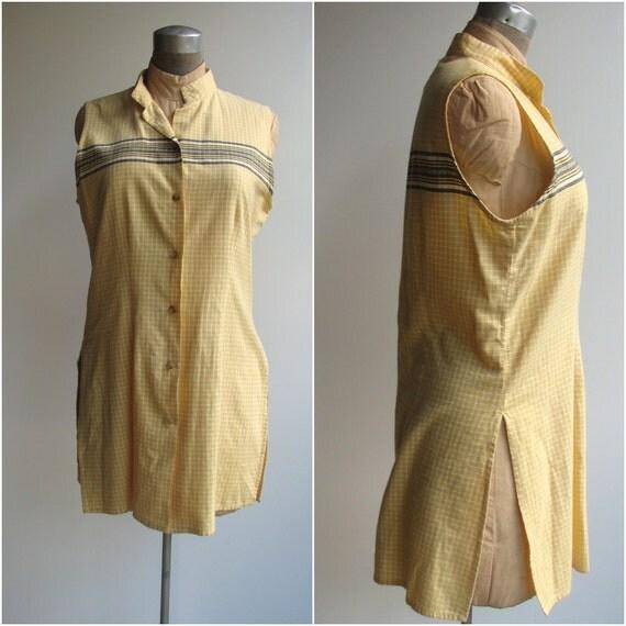 Vintage Tunic -- Yellow Button Down Geometric 1990s Tunic -- medium