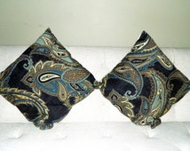 Pair of Large Blue Paisley Pillows
